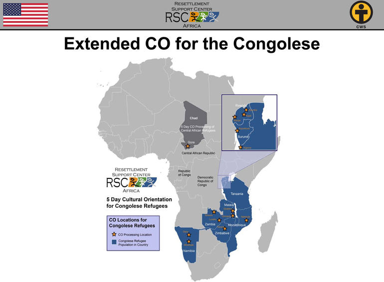 RSC Africa map of extended CO for Congolese refugees