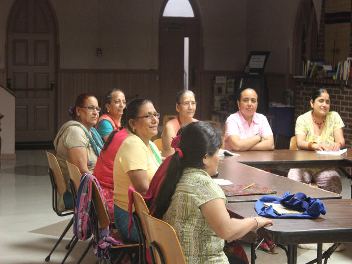 Bhutanese women in orientation class provided by resettlement agency