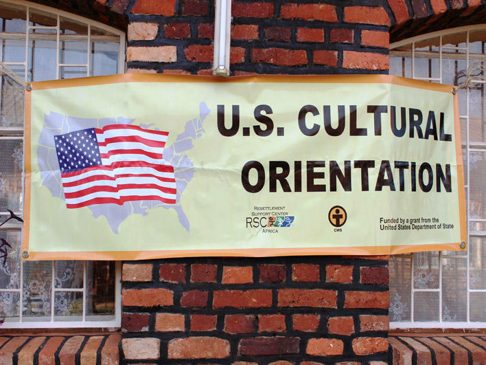 US CO banner at class location in Rwanda